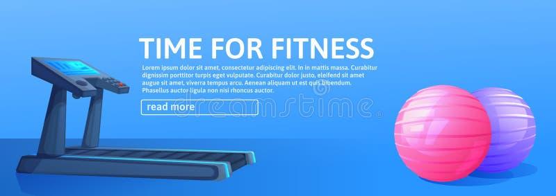 Предпосылка спорта с третбаном для бега и шариков Дизайн знамени фитнеса fo времени бесплатная иллюстрация