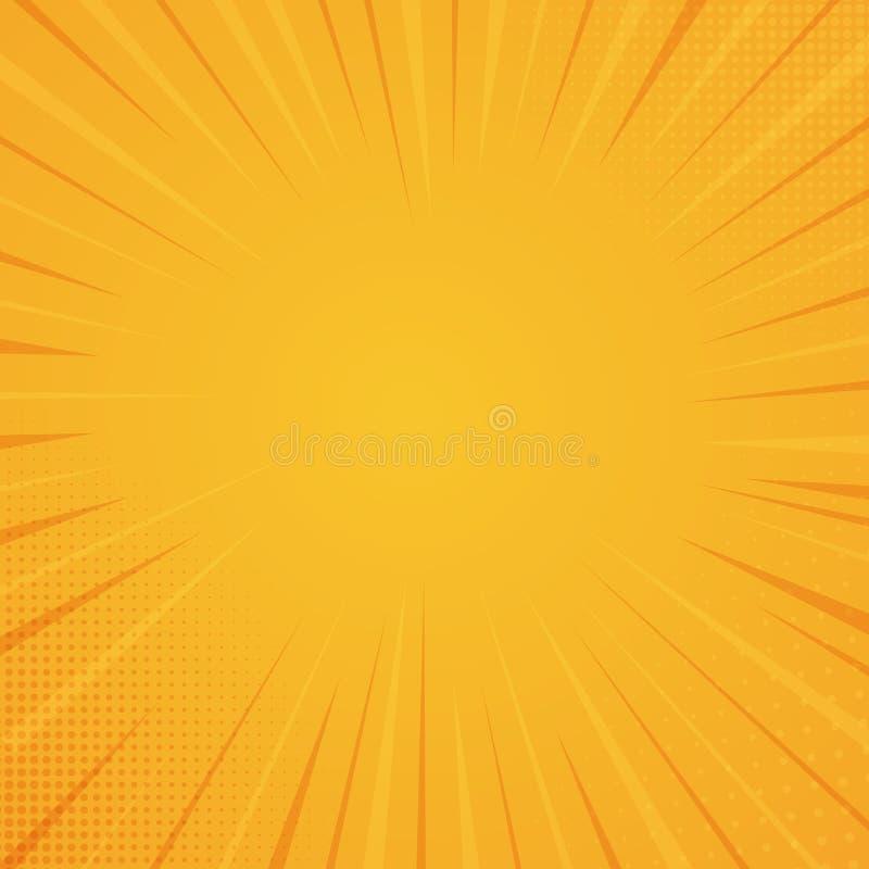 Предпосылка стиля комика, текстура печати полутонового изображения Иллюстрация вектора на оранжевой предпосылке иллюстрация вектора