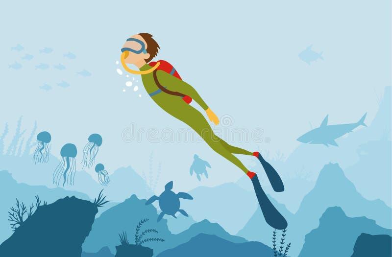 Предпосылка стиля мультфильма вектора подводная с флорой и фауной моря Коралловый риф, заводы моря и силуэты рыб бесплатная иллюстрация