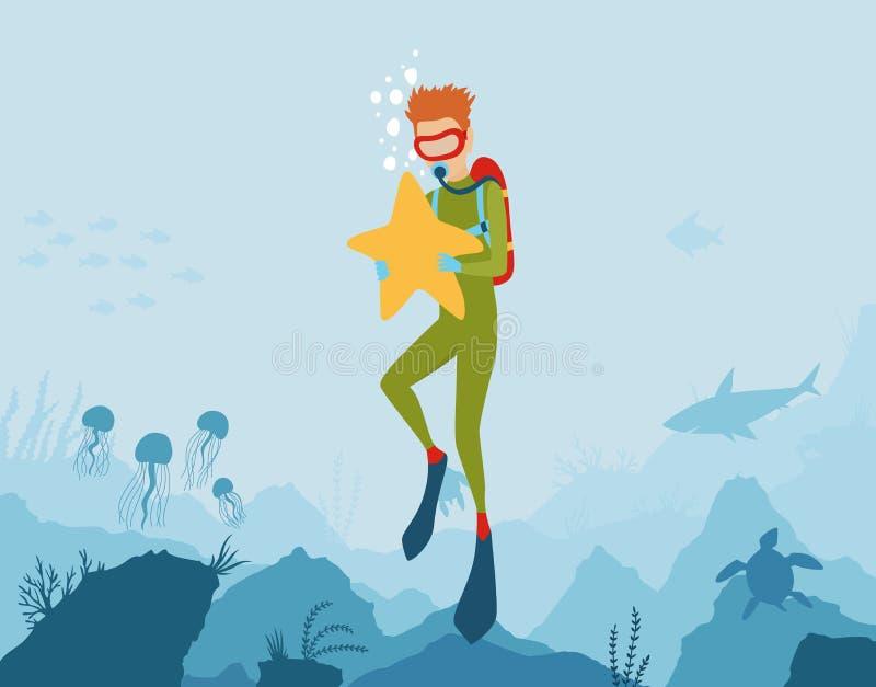 Предпосылка стиля мультфильма вектора подводная с флорой и фауной моря Коралловый риф, заводы моря и силуэты рыб иллюстрация вектора