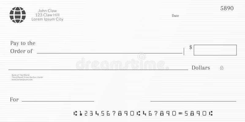 Шаблон банковского чека Предпосылка страницы чековой книжки бесплатная иллюстрация