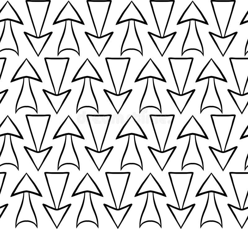 Предпосылка стрелок нарисованных рукой черно-белых различных на белой предпосылке иллюстрация штока