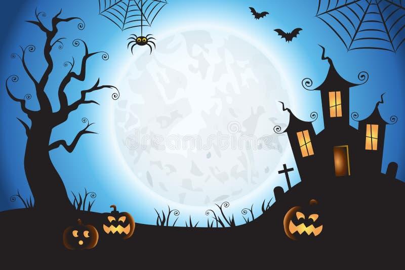 Предпосылка 1 сцены вектора хеллоуина пугающая голубая иллюстрация штока