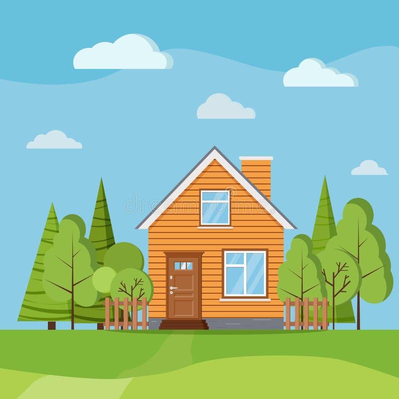 Предпосылка сцены природы ландшафта лета или весны с домом фермы страны сельским с камином иллюстрация штока