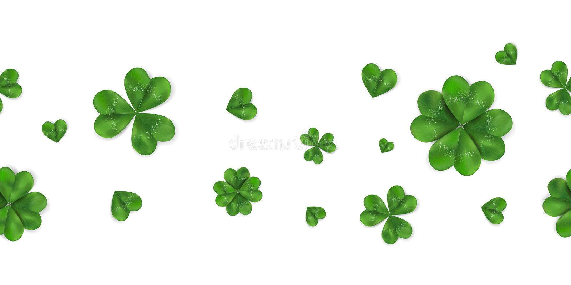 Предпосылка счастливого вектора дня ` s St. Patrick горизонтальная безшовная с shamrock, leaved клевером 4 изолированным на белиз бесплатная иллюстрация