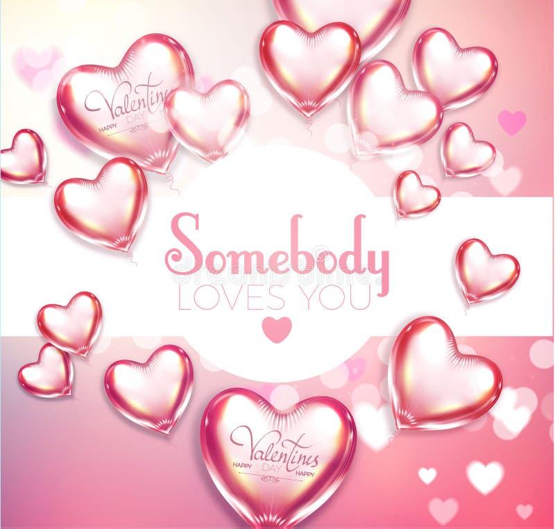 Предпосылка счастливого дня ` s валентинки мягкая с летать лоснистые и сияющие сердца, предпосылка нерезкости и влияние Bokeh Век иллюстрация вектора