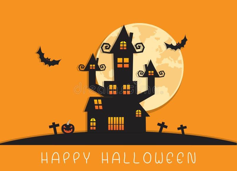 Предпосылка счастливого дома ночи и замка хеллоуина иллюстрация штока