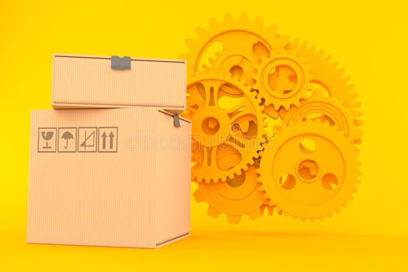 Предпосылка сыгранности с стогом коробок иллюстрация вектора
