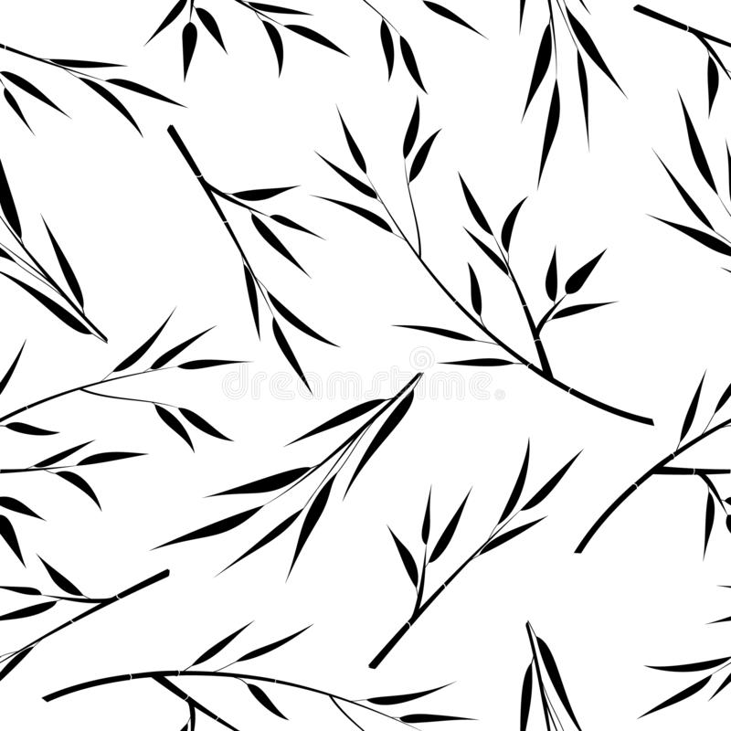 Предпосылка с бамбуковыми ветвями, вектор Силуэт ветвей с листьями иллюстрация вектора