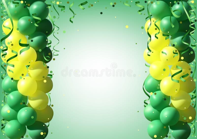 Предпосылка с воздушными шарами и Confetti партии иллюстрация штока