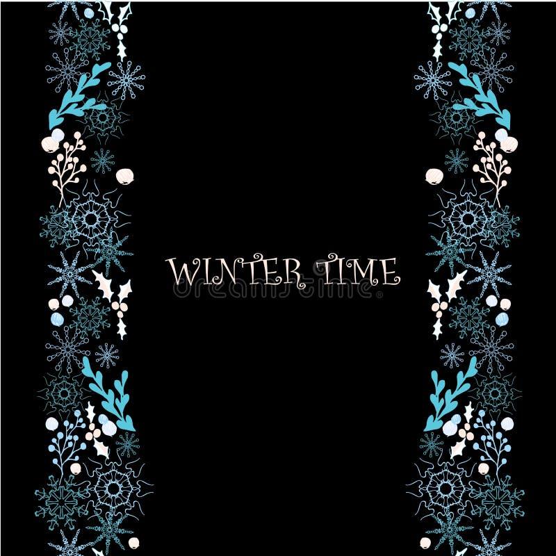 Предпосылка с голубыми и розовыми снежинками и картиной падуба безшовной, на черноте, зимнее время иллюстрация штока