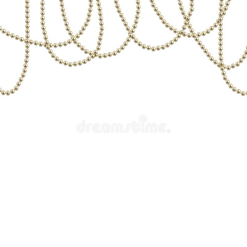 Предпосылка с декоративными золотыми строками шариков, вектор бесплатная иллюстрация
