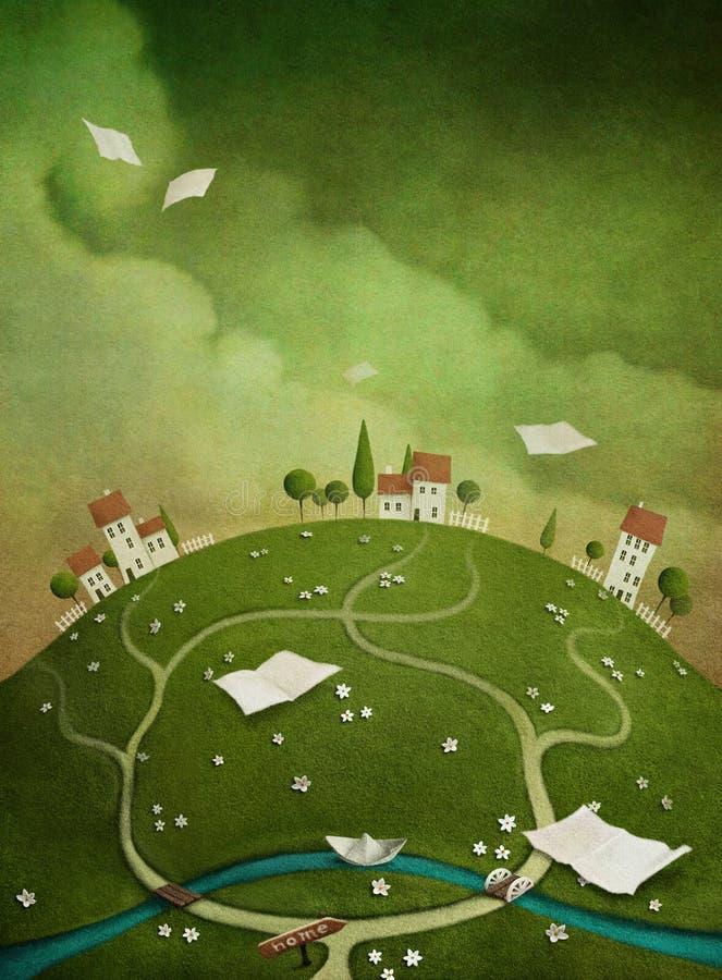 Предпосылка с домами на холме. бесплатная иллюстрация