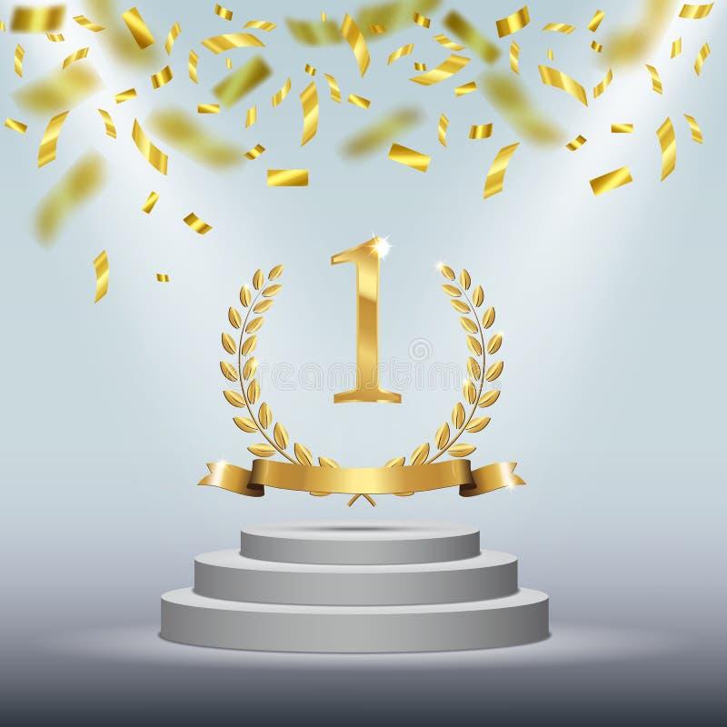 Предпосылка с золотым символом одно, лавровый венок победителя, лента на круглом постаменте изолированном на сини Плакат вектора иллюстрация вектора