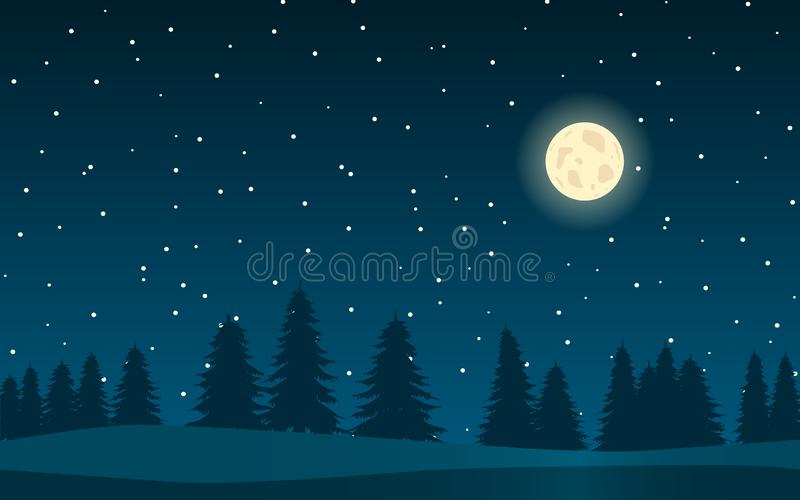 Предпосылка с ландшафтом ночи иллюстрация вектора