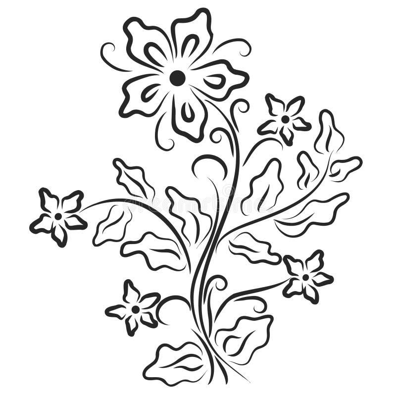 Предпосылка с лиством и цветком иллюстрация штока