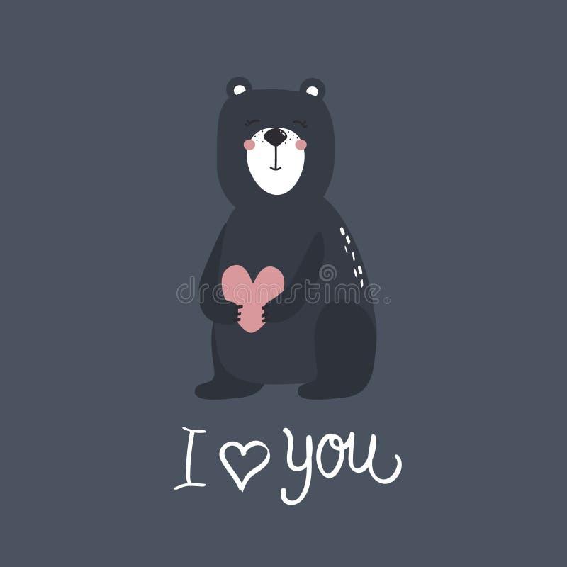 Предпосылка с милым медведем, сердцем и текстом Я тебя люблю, дизайн плаката Декоративный фон иллюстрация вектора