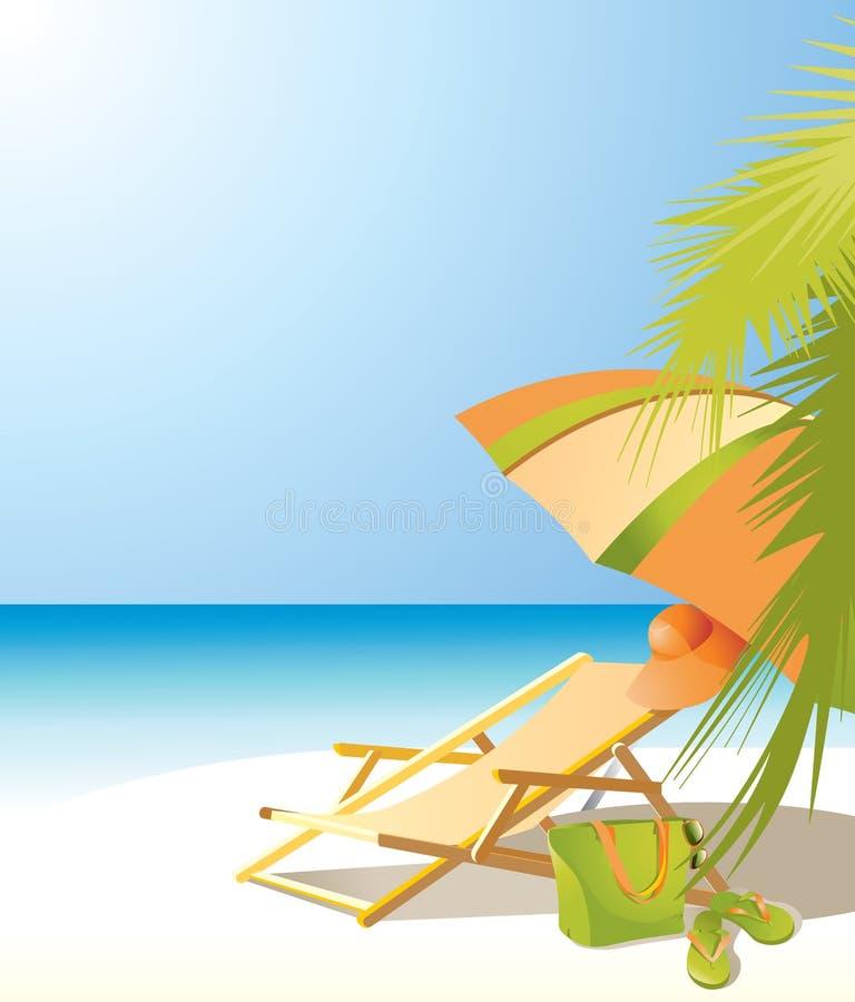 Предпосылка с морем, зонтиком пляжа, шезлонгом и acc пляжа бесплатная иллюстрация