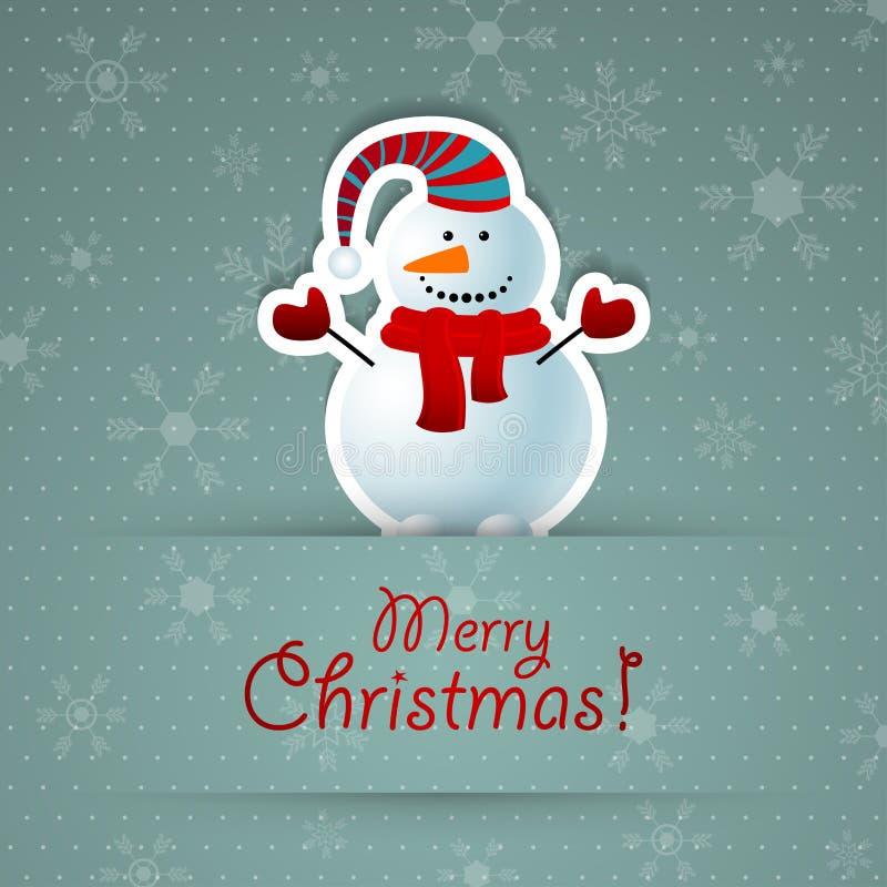 Предпосылка с Рождеством Христовым с снеговиком. бесплатная иллюстрация