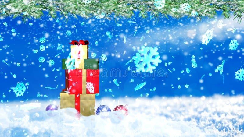 Предпосылка с славным переводом снежинок и подарочных коробок 3D xmas иллюстрация штока