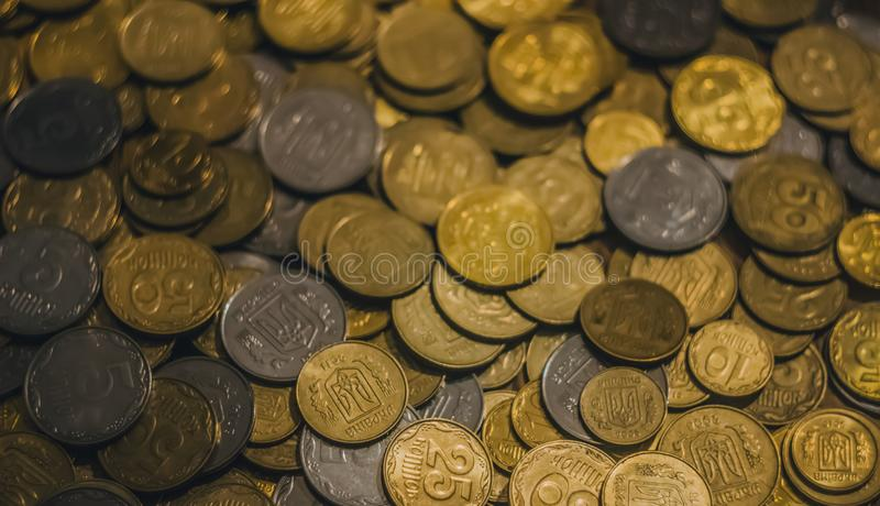 Предпосылка с украинскими монетками стоковое фото rf