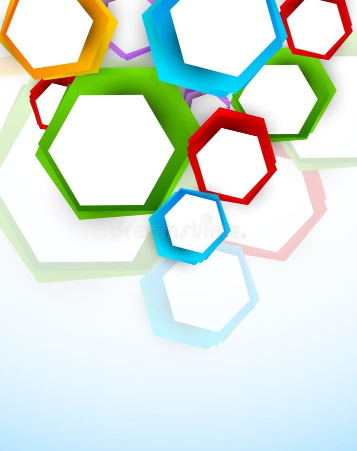 Предпосылка с цветастыми шестиугольниками иллюстрация вектора