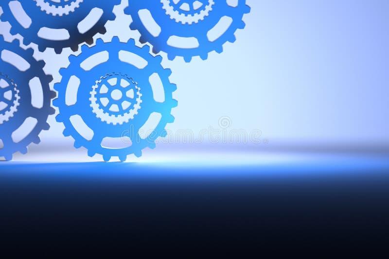 Предпосылка с шестернями в цветах света - голубых и синих иллюстрация вектора
