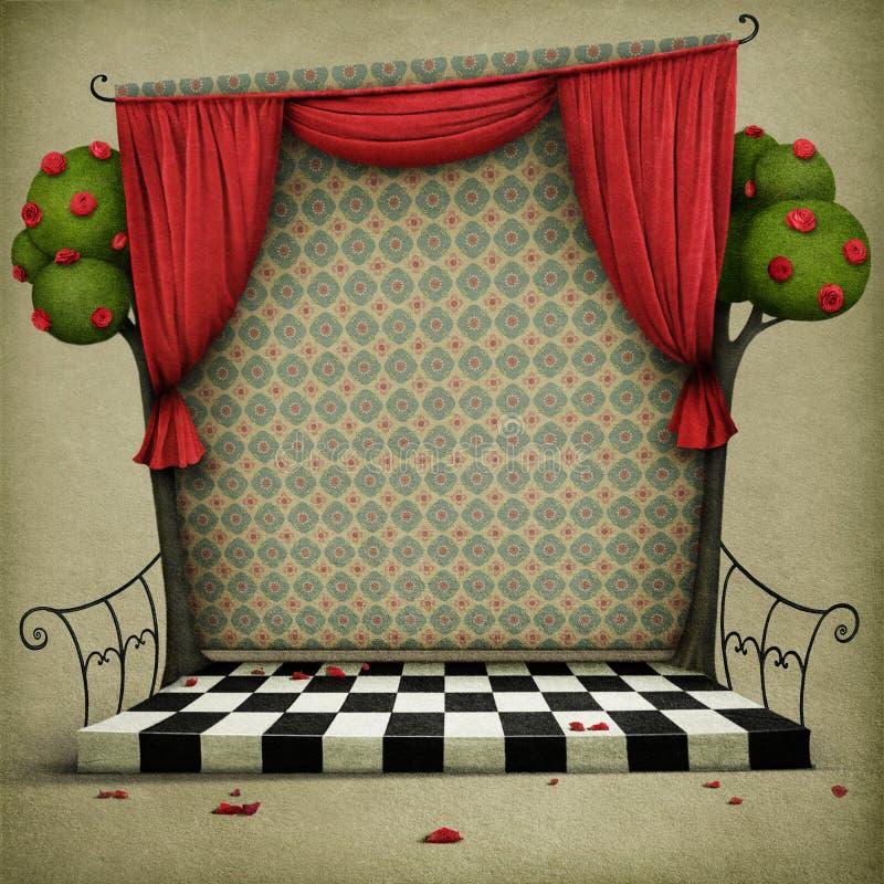Предпосылка с элементами сказки Алисы в стране чудес иллюстрация вектора