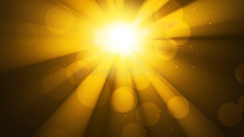 Предпосылка с ярким золотым солнцем, солнечностью Влияние светлых и bokeh Божественный золотой рай блеска, сверкная светя небо стоковое фото rf