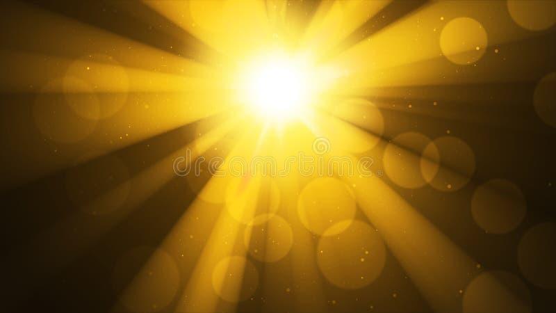 Предпосылка с ярким золотым солнцем, солнечностью Влияние светлых и bokeh Божественный золотой блеск, рай, светя небо стоковое фото rf