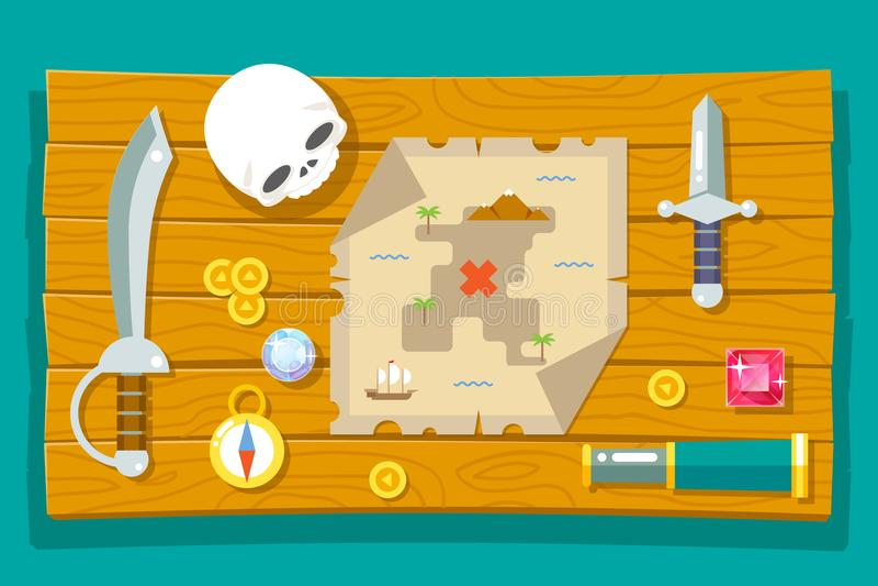 Предпосылка таблицы символа значка компаса черепа Spyglass жеребейки ножа действия карты RPG игры приключения сокровища пирата де бесплатная иллюстрация