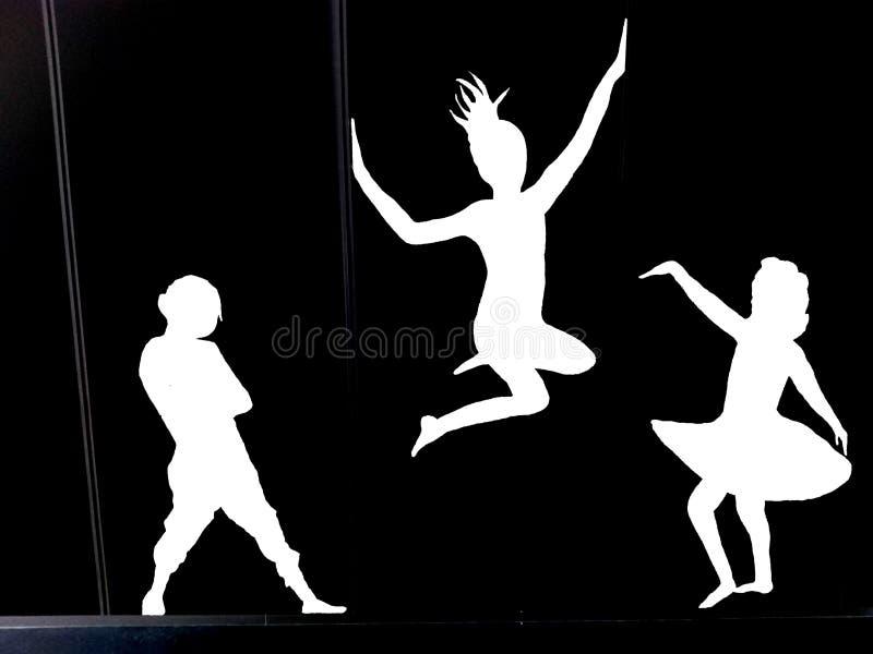 Предпосылка - танцуя дамы в черно-белом иллюстрация штока