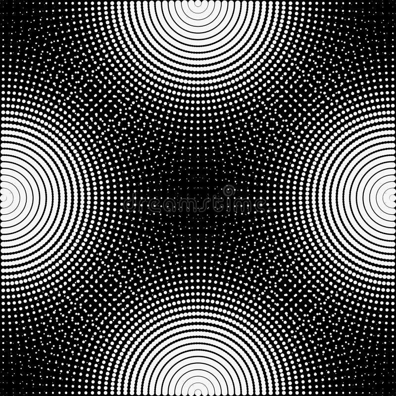 Предпосылка, текстура, абстрактная Изолированы черно-белые круги, шарики на черной предпосылке иллюстрация вектора