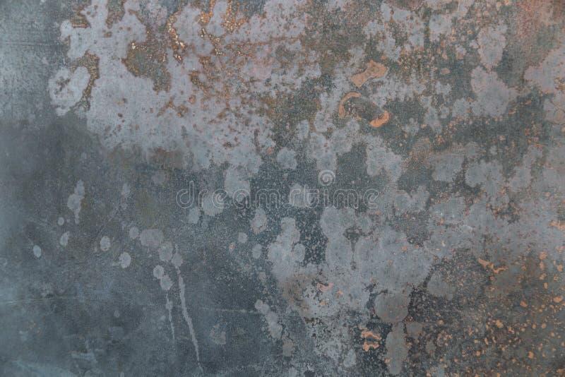 Предпосылка текстуры металла Grunge с ржавыми и голубыми тонами стоковая фотография rf