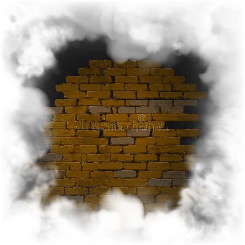 Предпосылка темноты кирпичной стены рамки дыма старая иллюстрация штока