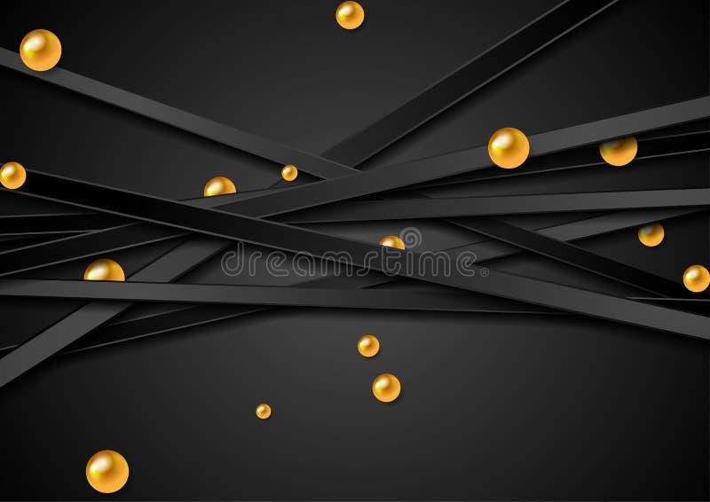 Предпосылка техника абстрактная с черными нашивками и золотыми шариками бесплатная иллюстрация