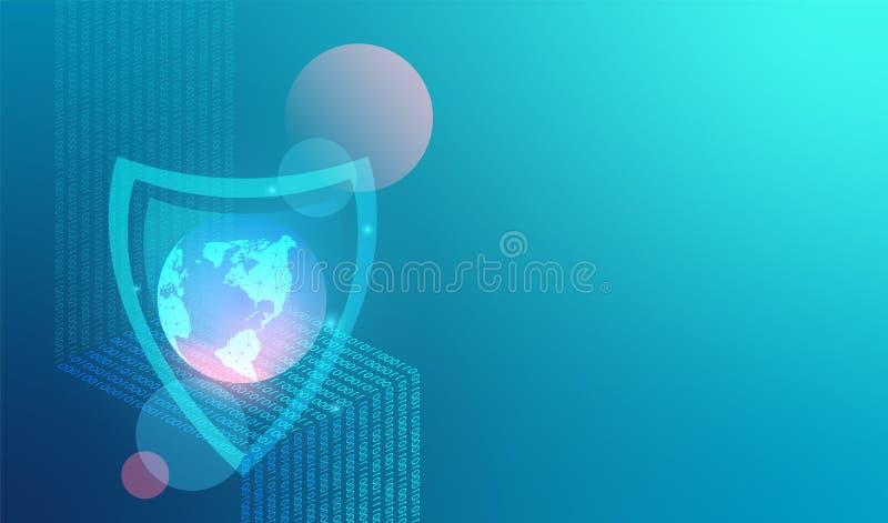 Предпосылка технологии безопасности сети вектора Глобальная сеть и интернет защиты данных Цифровые данные как числа бинарный код, иллюстрация штока