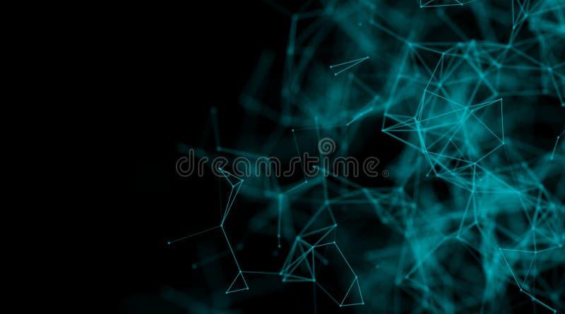 Предпосылка технологии лазера голубой современной динамической энергии плазмы футуристическая виртуальная, цифров произведенное и стоковое изображение rf