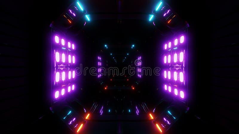 Предпосылка тоннеля футуристического scifi темная с накаляя светами 3d представить иллюстрация вектора