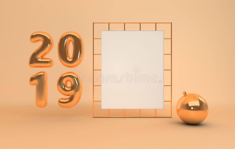 Предпосылка 2019 торжества Нового Года Цифры 201 золота металлические иллюстрация штока