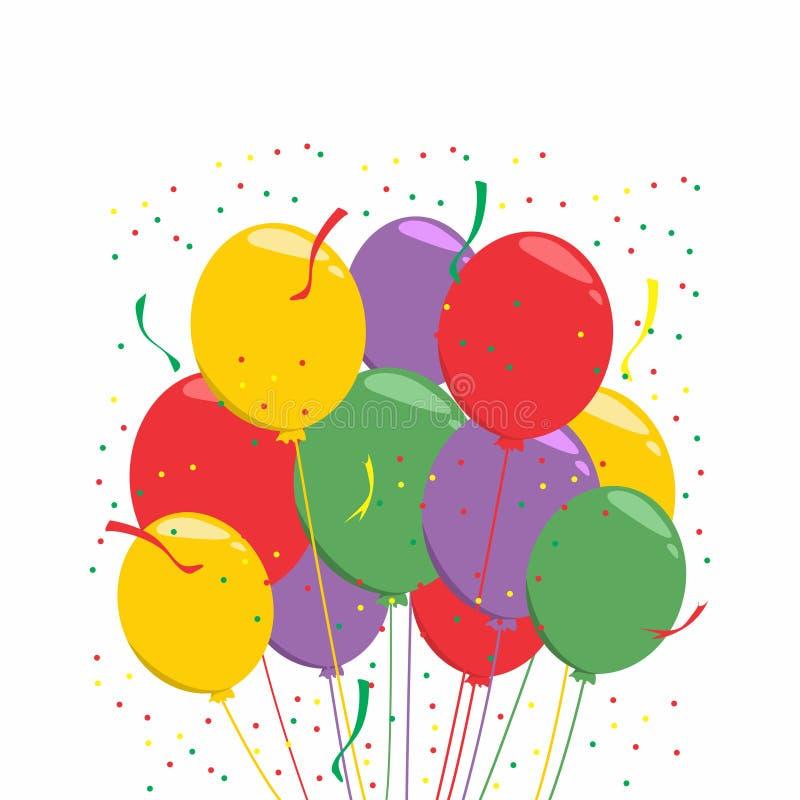 Предпосылка торжества с плоскими воздушными шарами Colorfull иллюстрация вектора