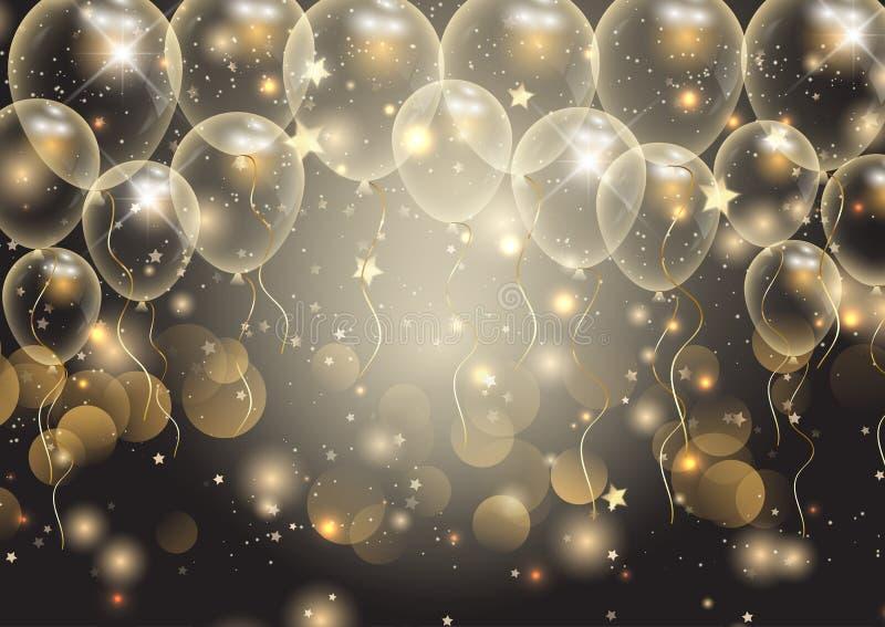 Предпосылка торжеств с воздушными шарами золота иллюстрация штока