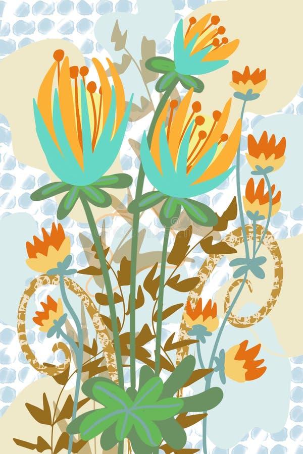 Предпосылка точки конспекта решетки художнического плоского сада фантазии цветка для предпосылки искусства падения бесплатная иллюстрация