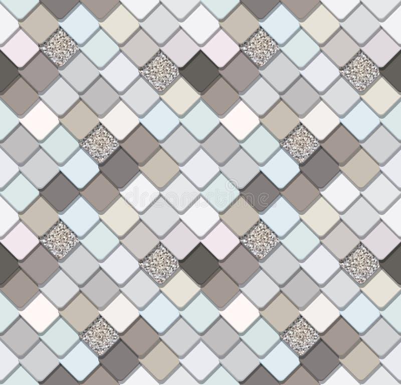 Предпосылка ультрамодной мозаики безшовная с серебряными элементами яркого блеска Текстура кожи змейки Улучшите для передвижного  бесплатная иллюстрация
