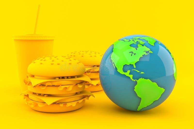 Предпосылка фаст-фуда с глобусом мира иллюстрация вектора