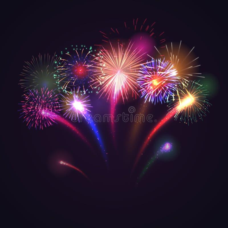 Предпосылка фейерверков праздничная со светя искрами иллюстрация вектора