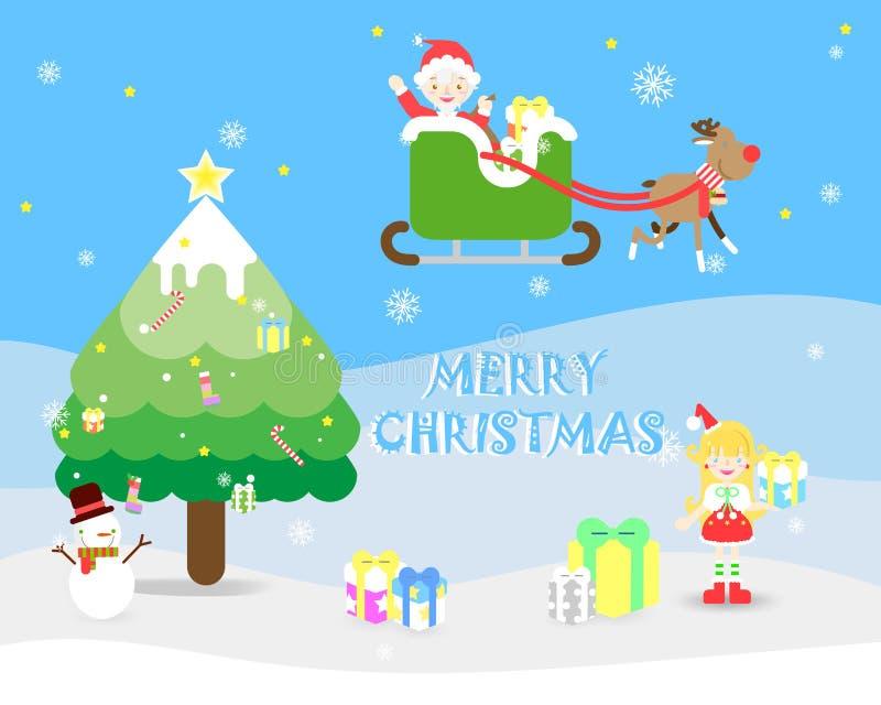 Предпосылка фестиваля праздника веселого рождества с Санта Клаусом, женским santa иллюстрация штока