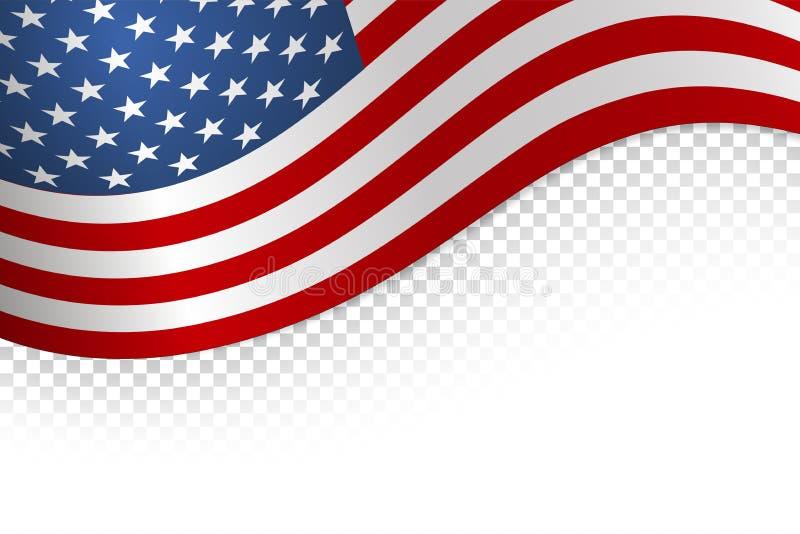 Предпосылка флага американская Флаг изолированный на белой предпосылке r иллюстрация штока
