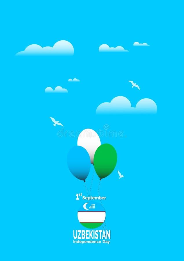 Предпосылка флага Узбекистана Дня независимости вектор экрана иллюстрации 10 eps иллюстрация штока