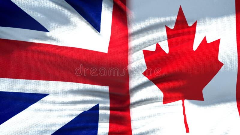 Предпосылка флагов Великобритании и Канады, дипломатический и экономические отношения стоковое изображение
